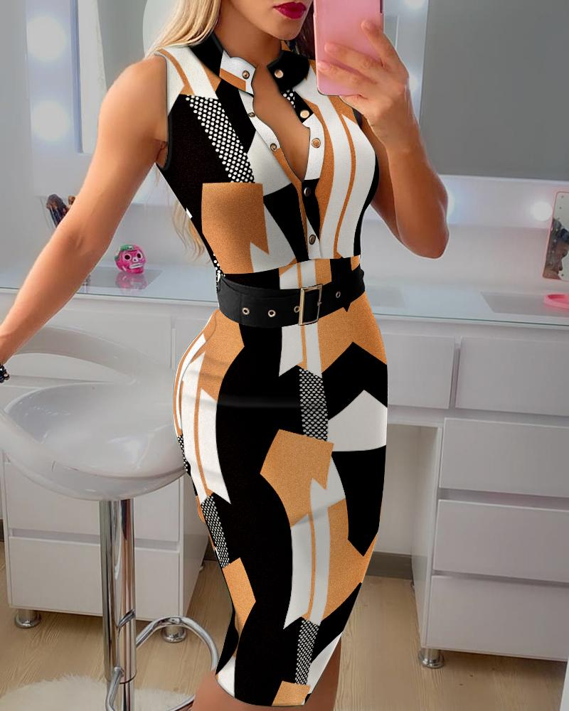 Geometric Colorblock Knit Sleeveless Button Design Skinny Dress With Belt