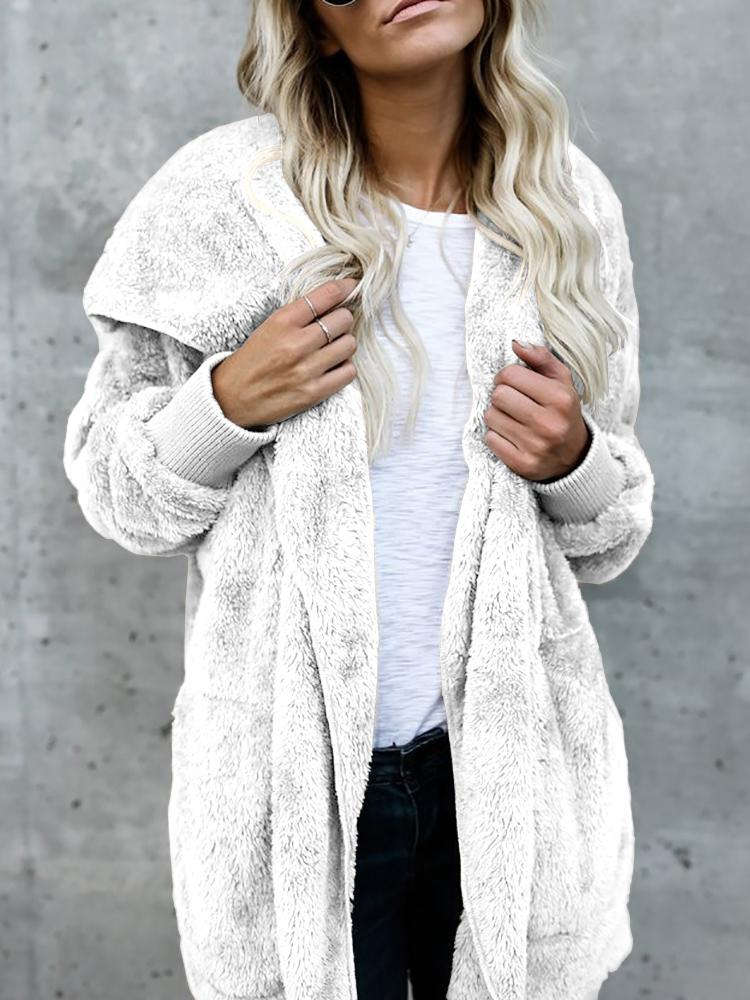Joyshoetique coupon: Warm Solid Pocket Design Hoodies Fluffy Coat - White