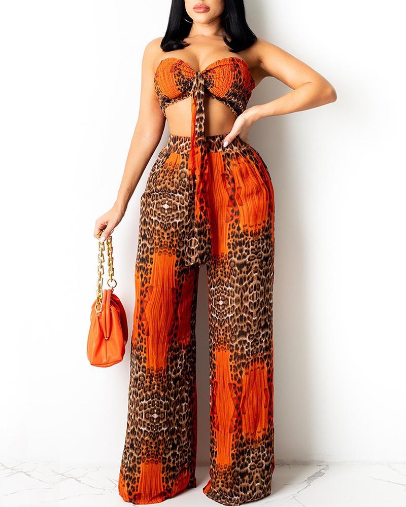 Leopard Print Shirred Tie Front Bandeau Top & Pants Sets