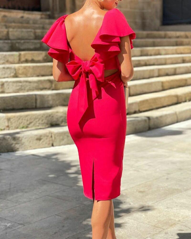 Bowknot Backless Ruffle Hem Split Skinny Dress