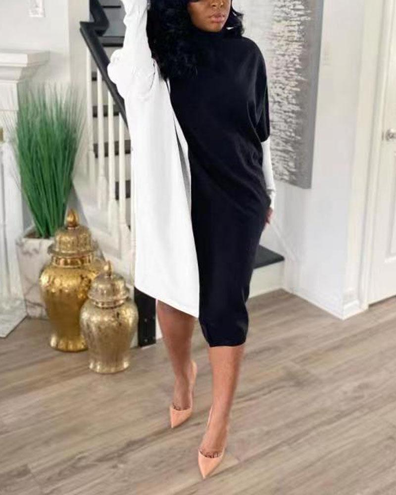 Colorblock High Neck Asymmetrical Casual Dress, White
