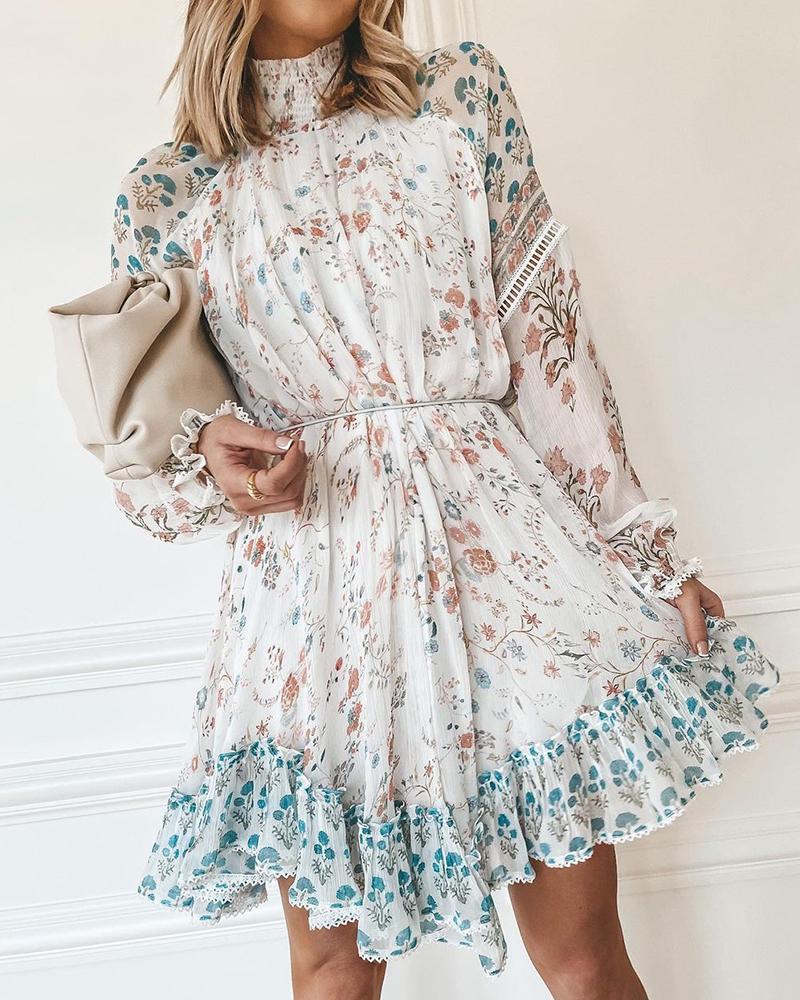 Floral Print Ruffle Hem Dress, White