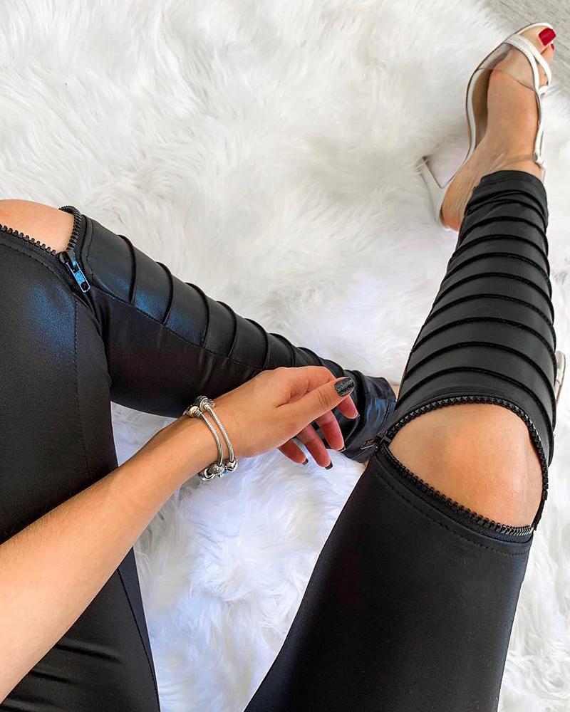 Zipper Design PU Leather Strap Decor Skinny Pants