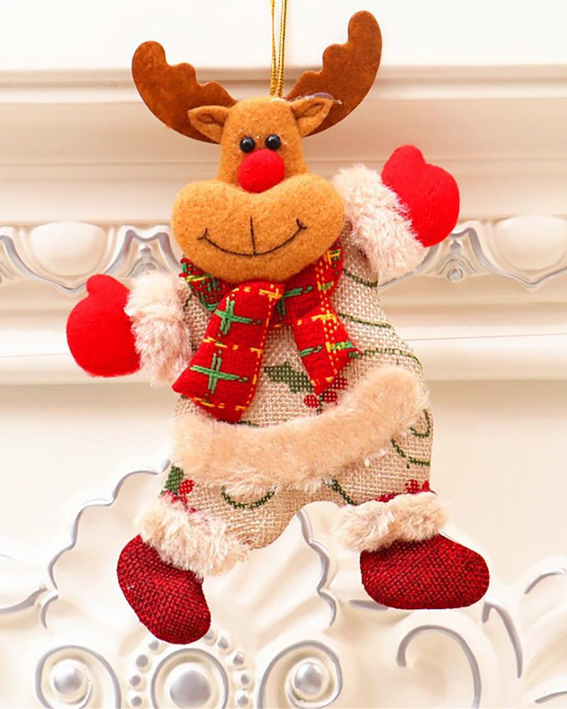 Christmas Tree Hanging Doll Santa Claus Decoration Snowman Elk New Years Party Toy Decoration