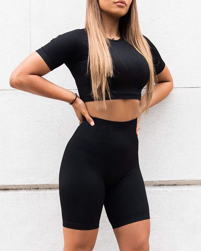Solid Round Neck Sporty Top & Short Set