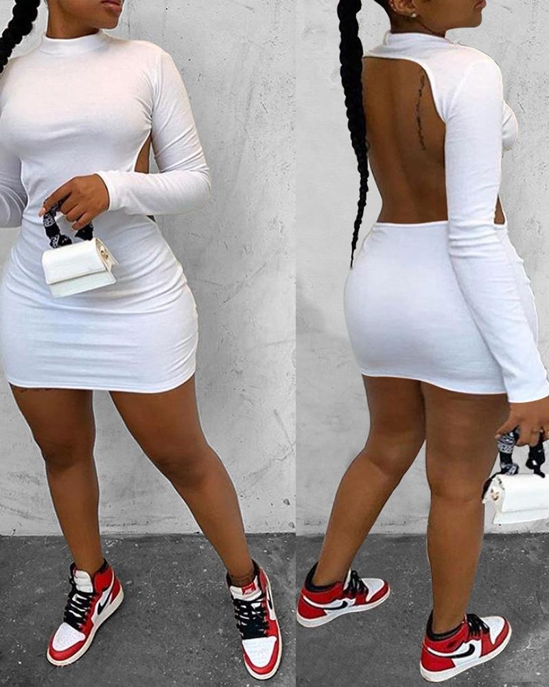 Long Sleeve Backless Bodycon Dress