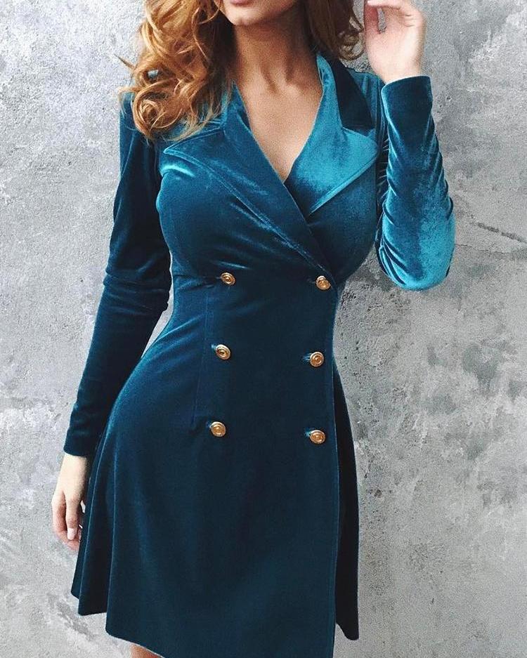 Velvet Double Breasted Blazer Dress
