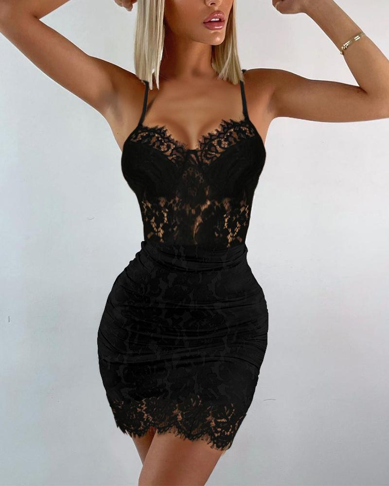 Contrast Lace Bodycon Cami Dress Solid Color Sleeveless Sling Slim Mini Bodycon Dress