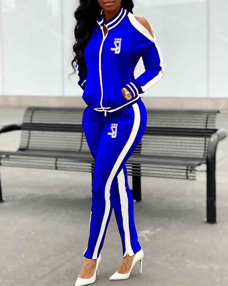 Cold Shoulder Side Stripe Top & Pant Sets