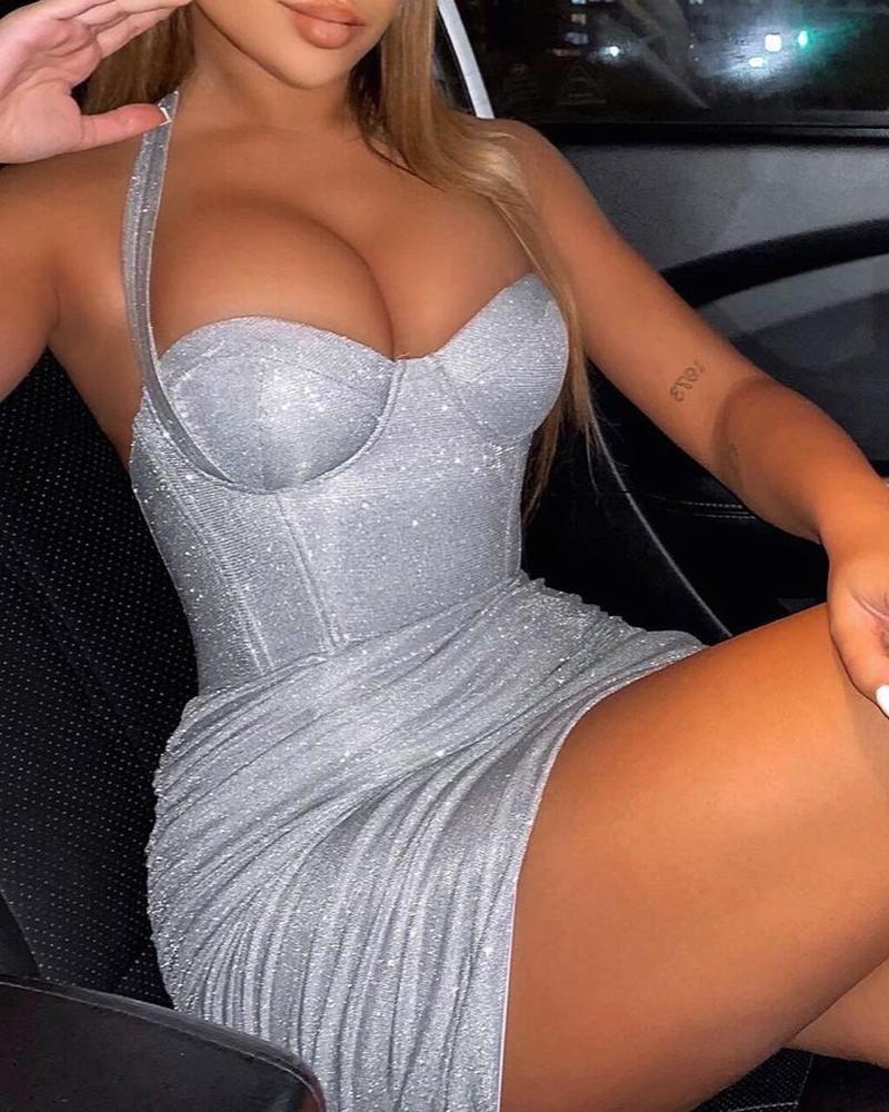 Glitter Tied Detail Corset Ruched Bodycon Dress