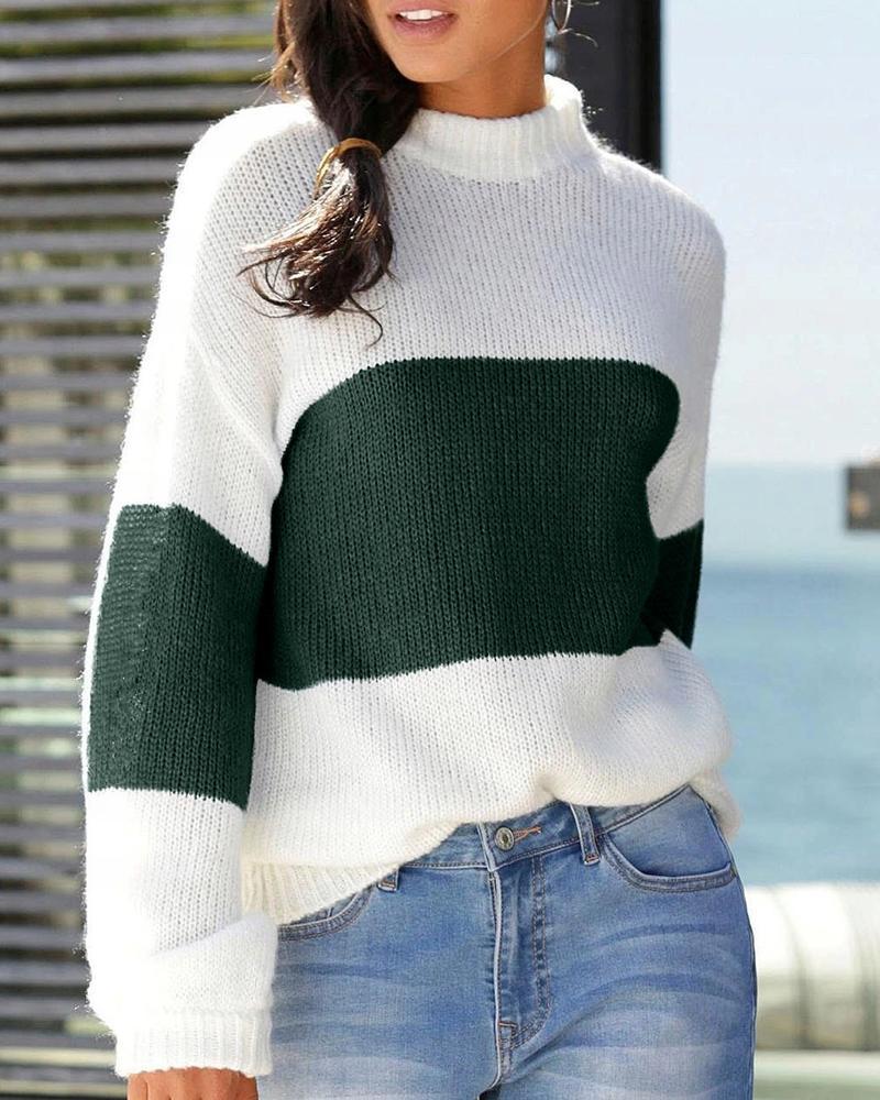 Colorblock Long Sleeve Knit Sweater
