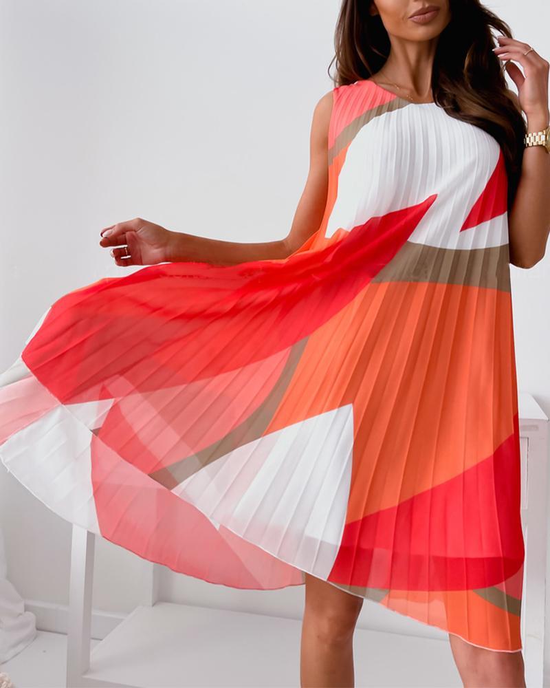 Color Block Sleeveless Pleated Mini Dress