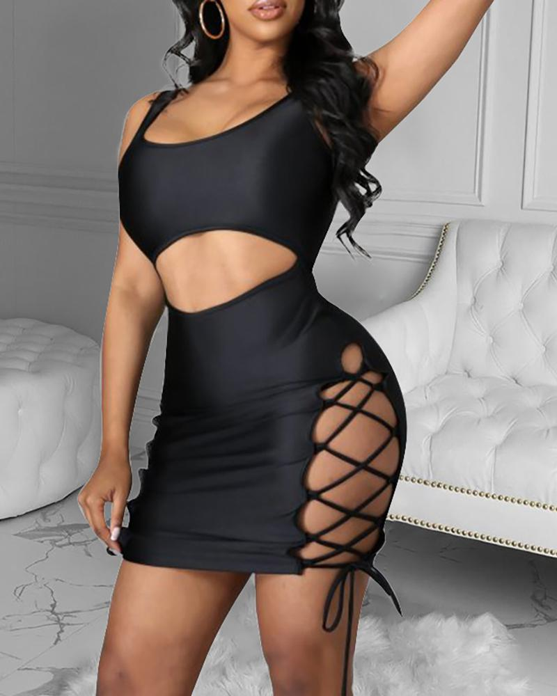 chicme / Lace-up Cutout Front Thick Strap Bodycon Dress