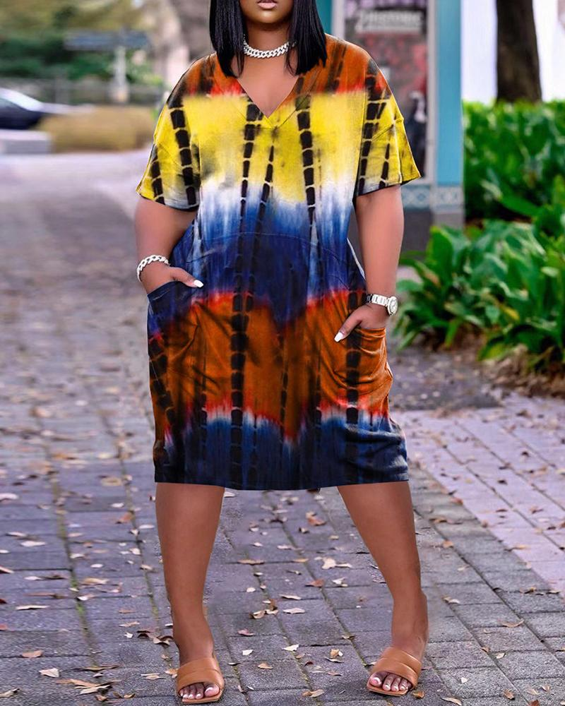 Short Sleeve Pocket Design Tie Dye Print Dress, Yellow