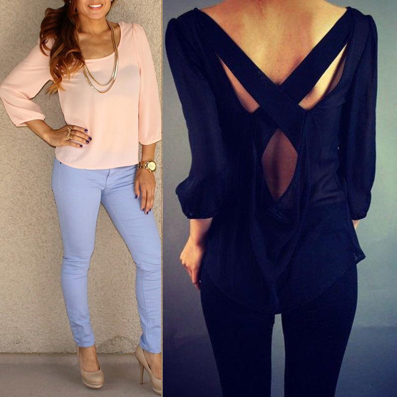 Sexy Women's 3/4 Sleeve Chiffon Tops Plus Size Loose Cross Back Casual Blouse Shirts