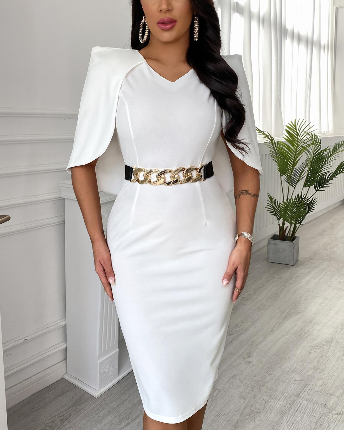 Boutiquefeel coupon: Cape Sleeve Plain Work Dress