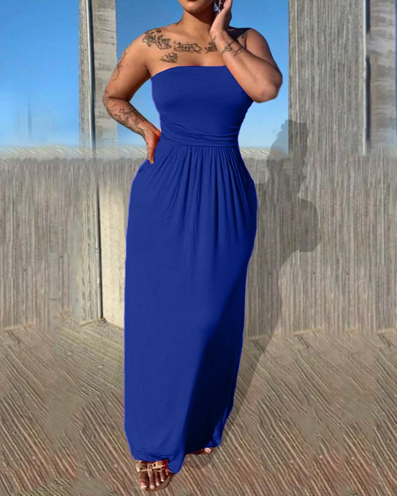 Bandeau Ruched Sleeveelss Maxi Dress