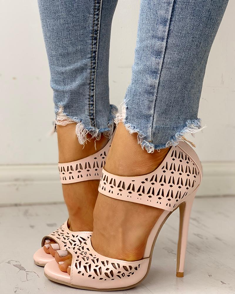 Peep Toe Hollow Out Thin Heels