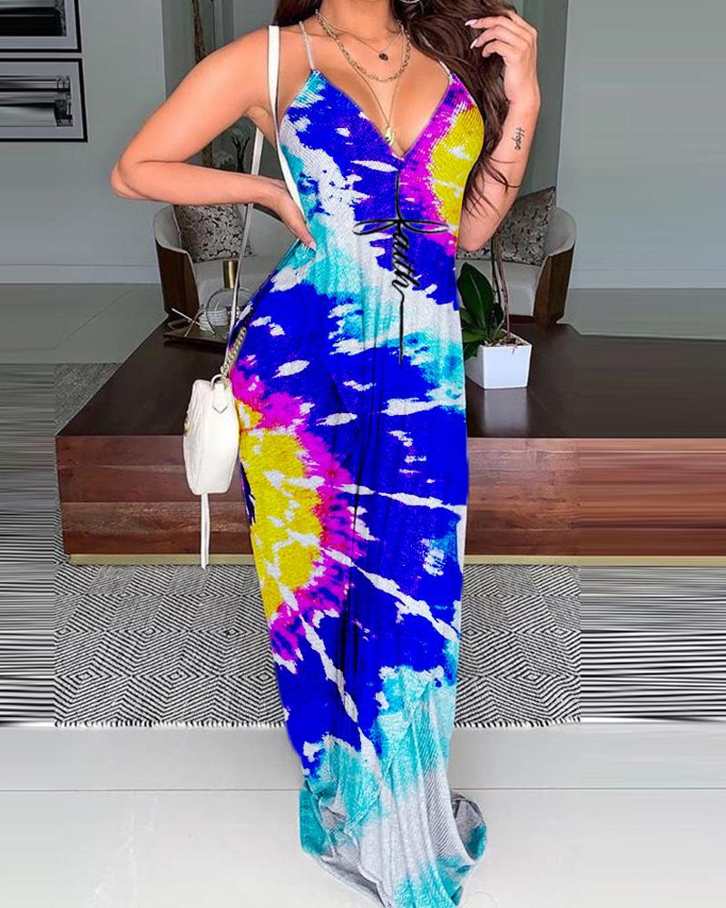 Tie Dye Print Sling Backless Maxi Dress