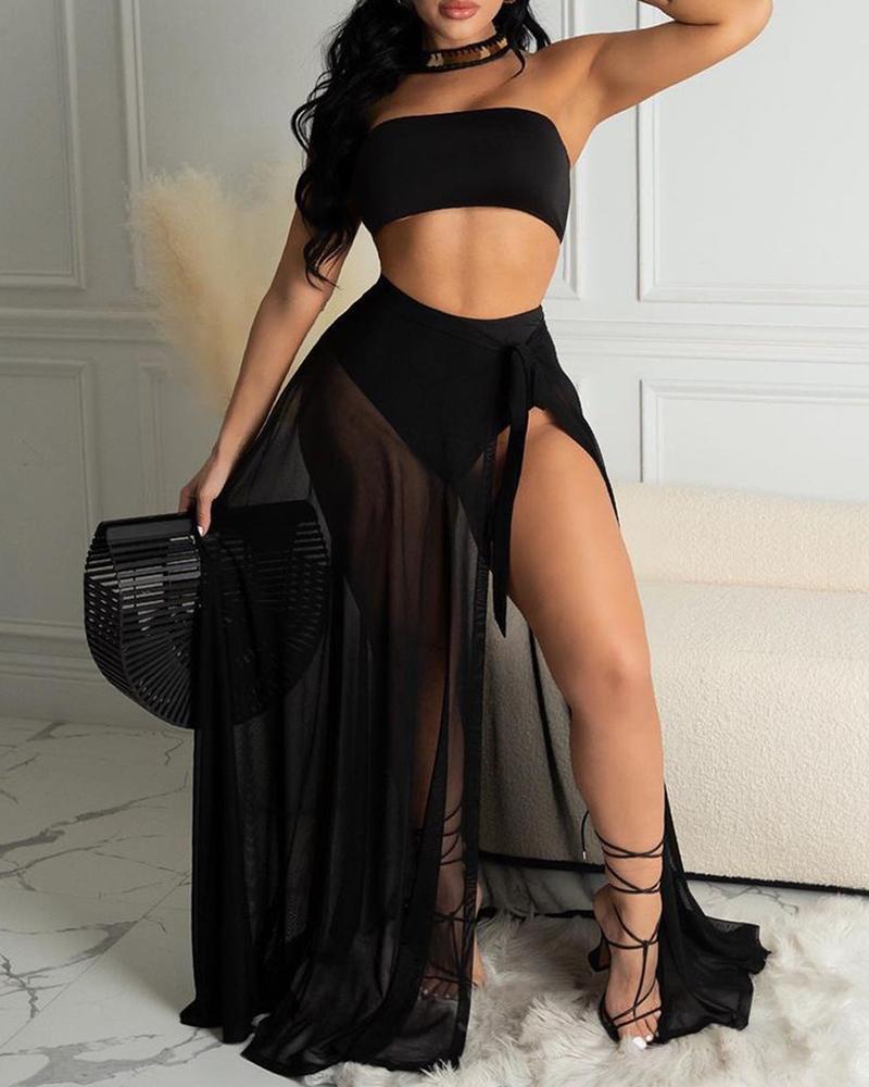 Bandeau High Waisted Bikini Set With High Slit Cover Up Skirt thumbnail