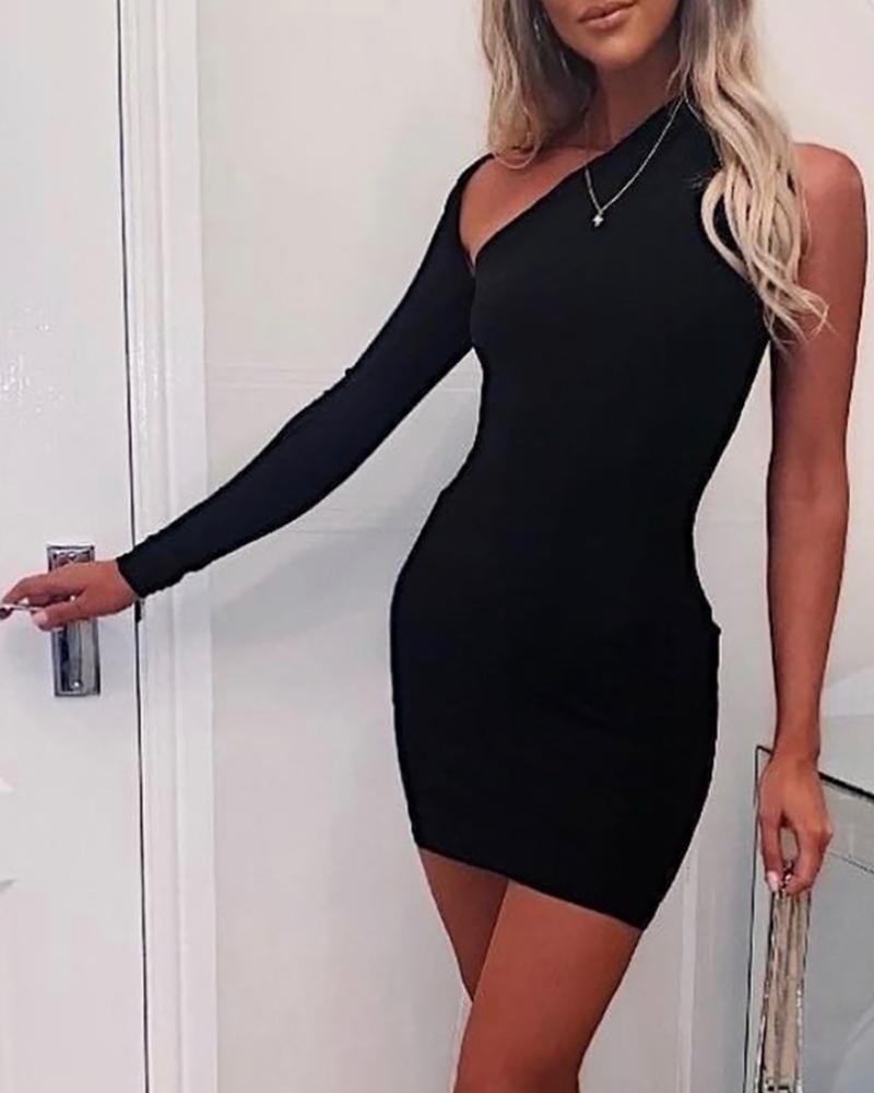 Long Sleeve One Shouder Cutout Front Bodycon Dress thumbnail