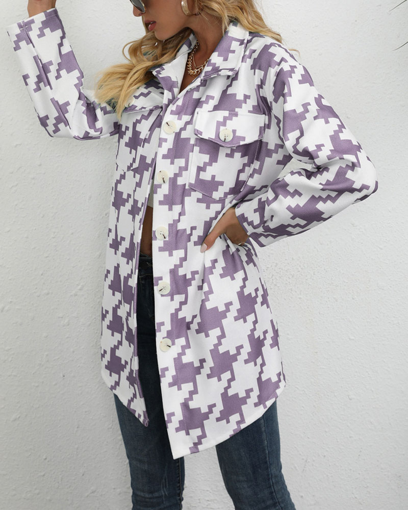 Houndstooth Print Flap Detail Button Down Shacket