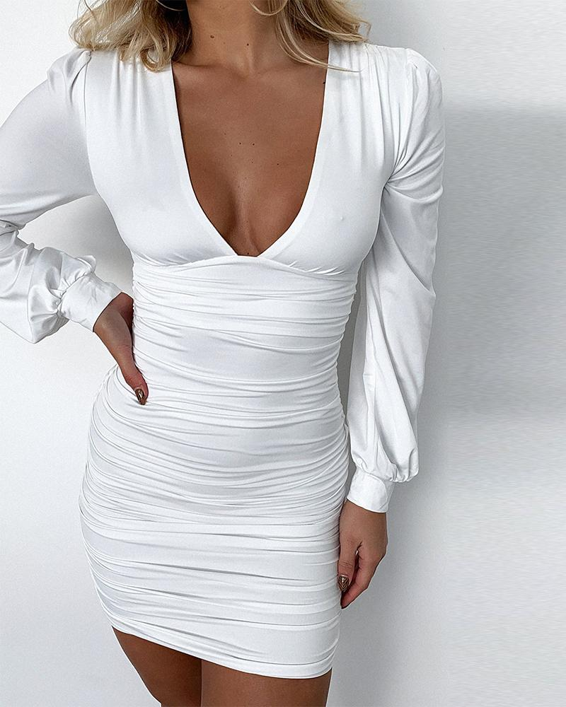 Solid Color Long Sleeve Slinky Ruched Mini Dress