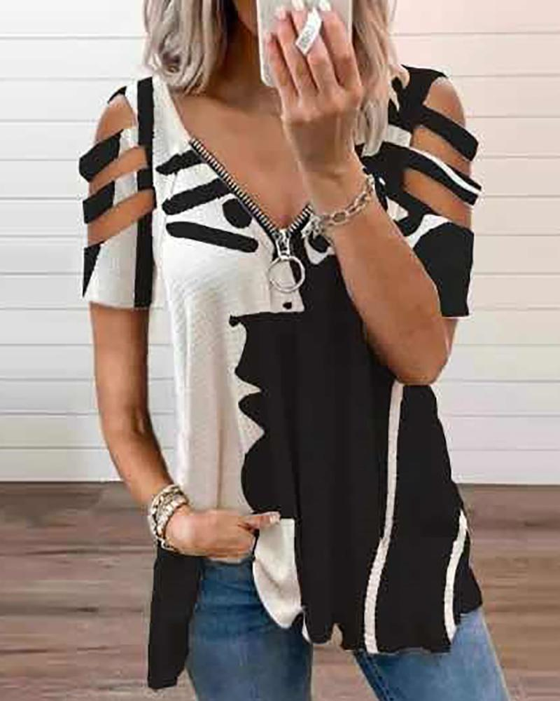 Graphic Print Zip Front Cutout Sleeve Top, Black