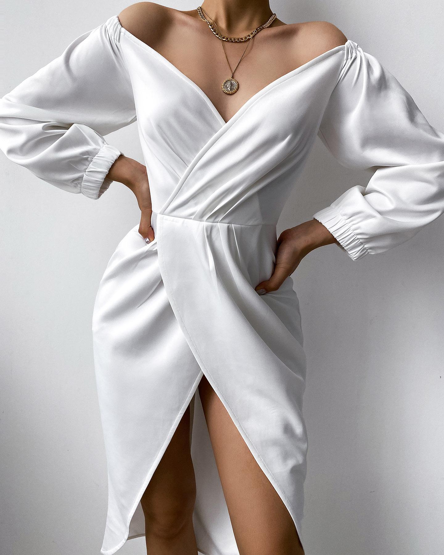 Solid Long Sleeve Wrap Split Dress thumbnail
