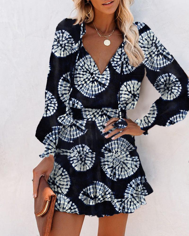 All Over Print Skinny Waist Long Sleeve Mini Dress thumbnail