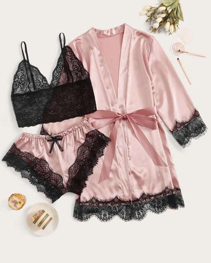 3PCS dentelle garniture satin vêtements de nuit sexy
