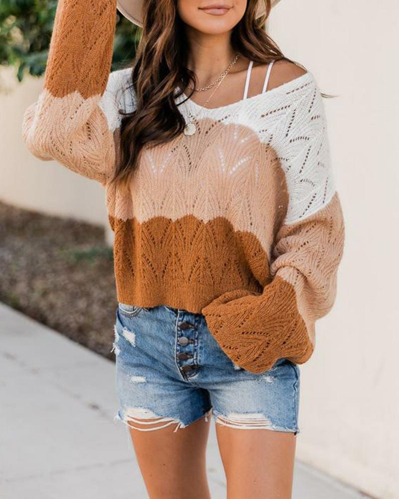 Colorblock V-Neck Pointelle Knit Sweater