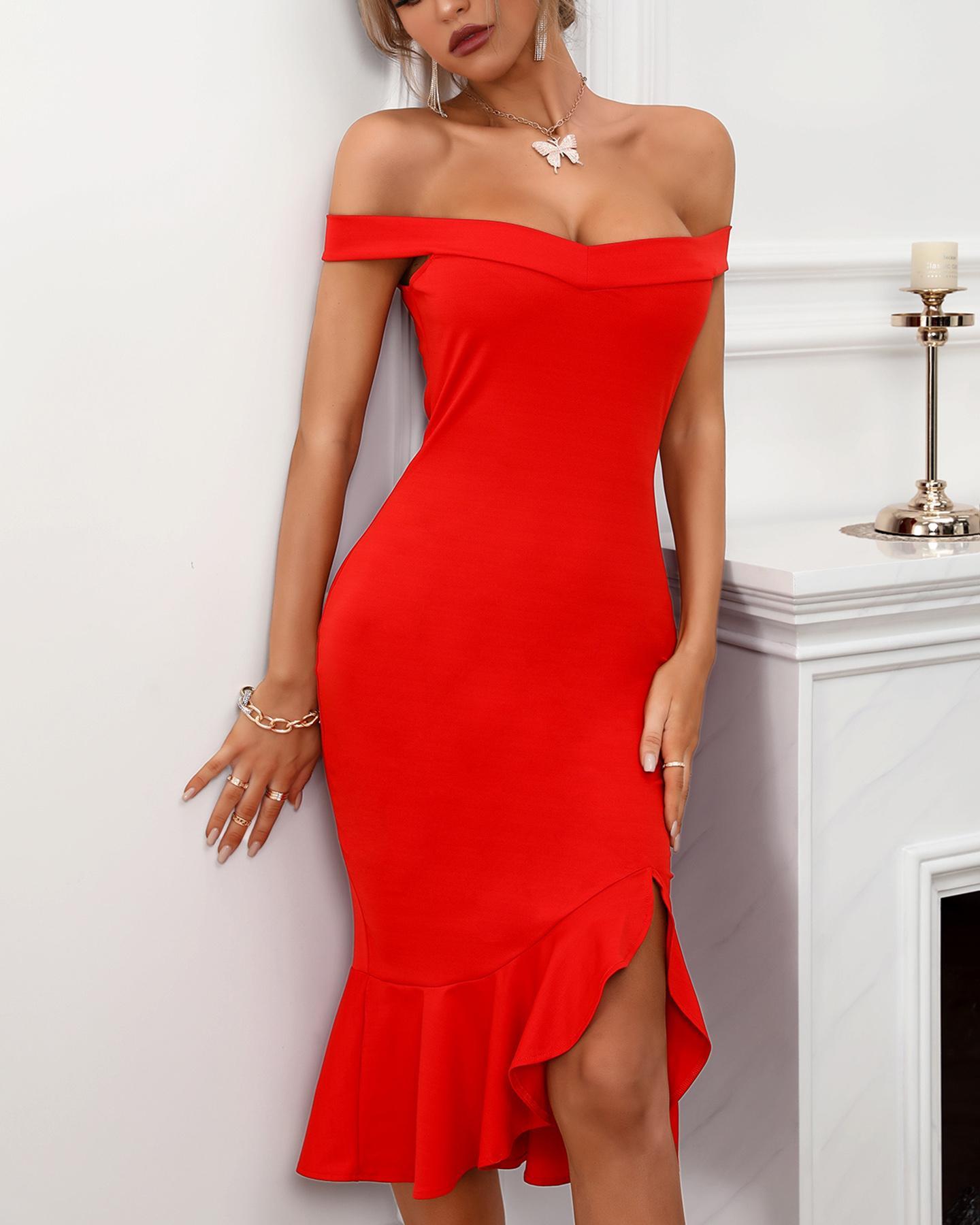 Women Plain Off Shoulder Ruffle Hem Slit Dress Maxi Dress Bodycon Dress Sexy Dress, Red