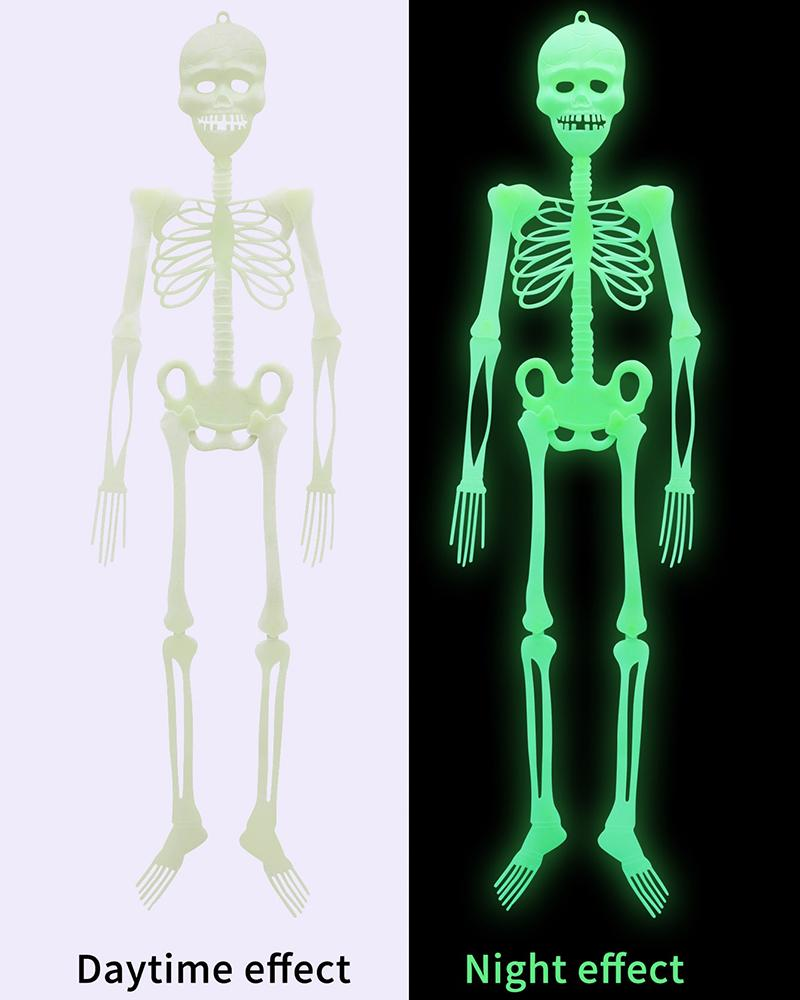 Halloween Hanging Luminous Skeleton Decorations 20*5cm Skeleton for Halloween Party Bar Wall Decorations Outdoor Yard Garden Hanging Ornaments Props