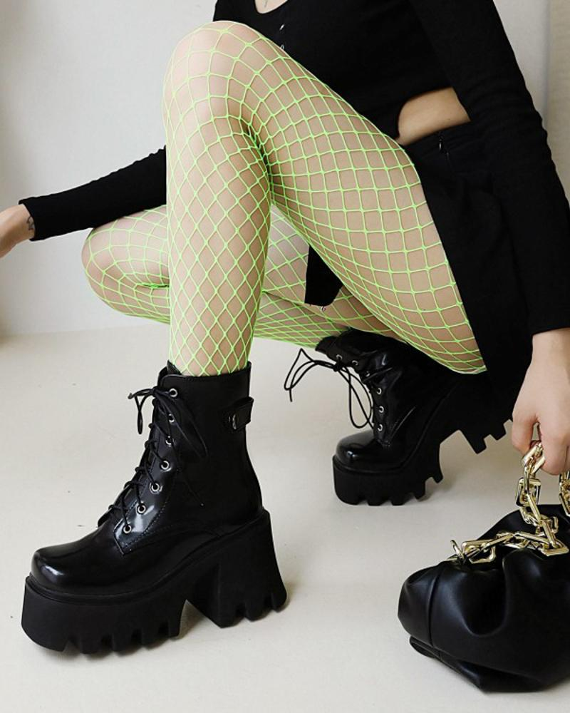 Womens Square Toe Lace-up Platform Motorcycle Boots