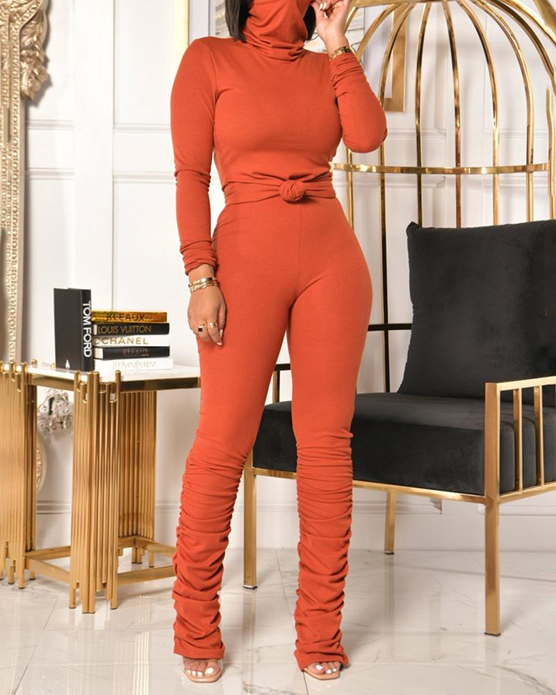High Neck Long Sleeve Top & Ruched Pants Set