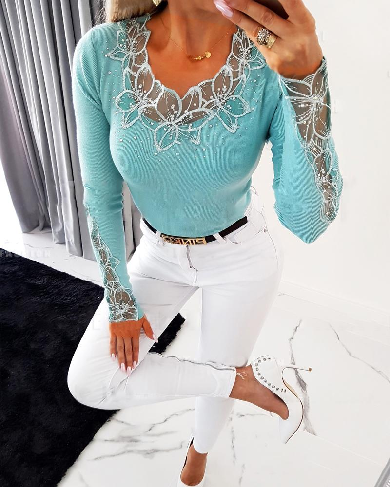 Contrast Lace Long Sleeve Knit Top