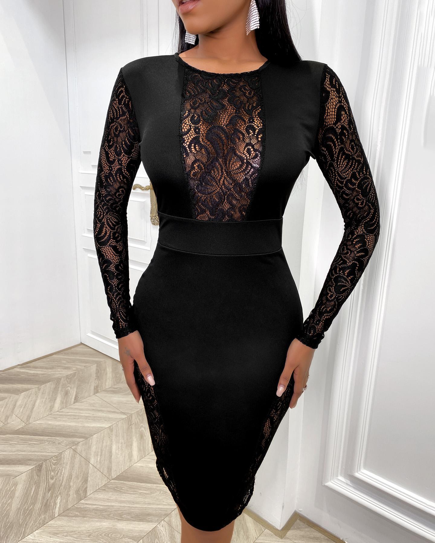 Black Lace Insert Midi Dress thumbnail