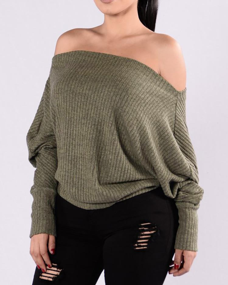 Off Shoulder Batwing Sleeve Sweater