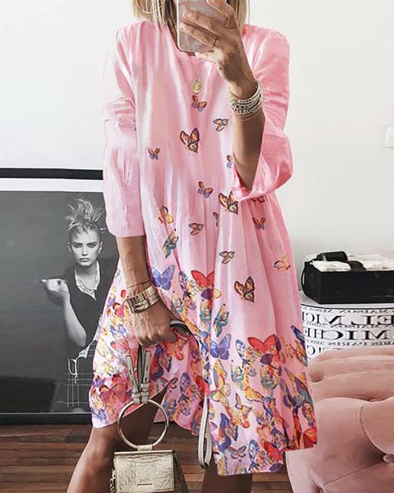 Butterfly Print Long Sleeve Casual Dress