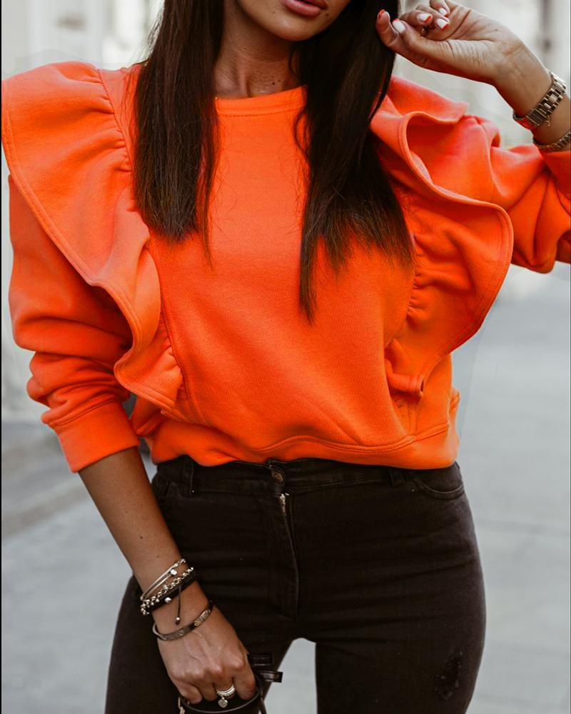 Long Sleeve Ruffle Hem Sweatshirt