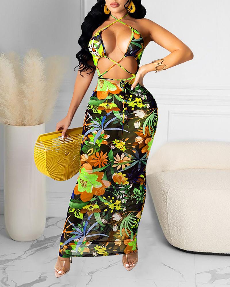 Halter Cutout Tropical Print Mesh Maxi Dress