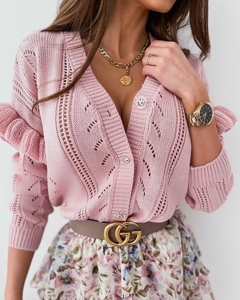 Button Front Open Knit Cardigan