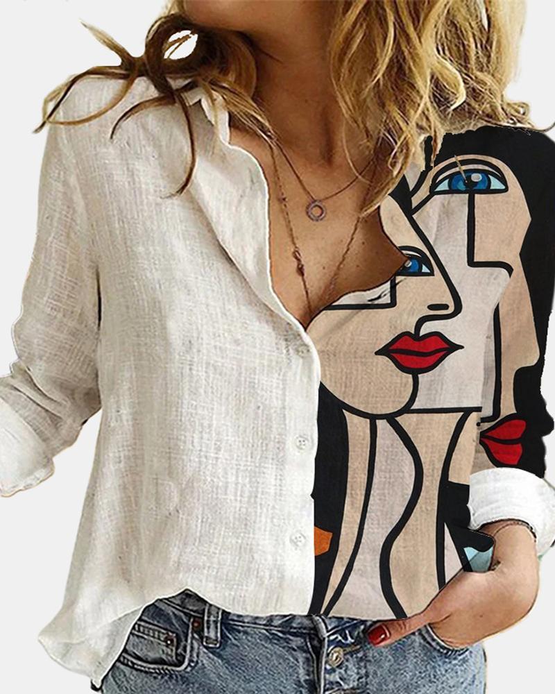 Graphic Print Long Sleeve Casual Shirt