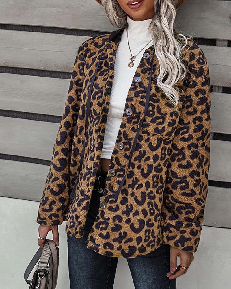 Cheetah / Plaid / Camouflage Print Button Design Teddy Coat