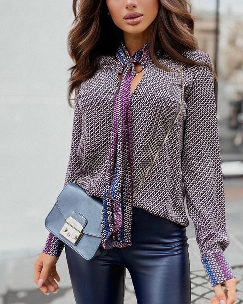 Abstract Print Tie Neck Long Sleeve Top