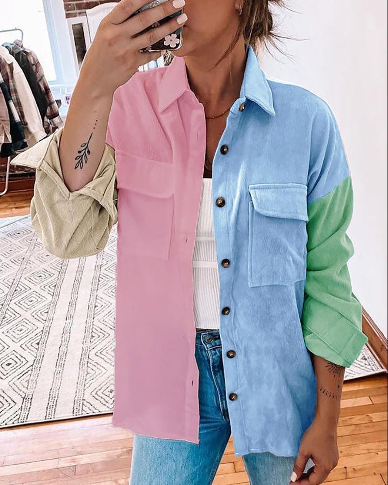 Long Sleeve Colorblock Buttoned Pocket Design Shacket