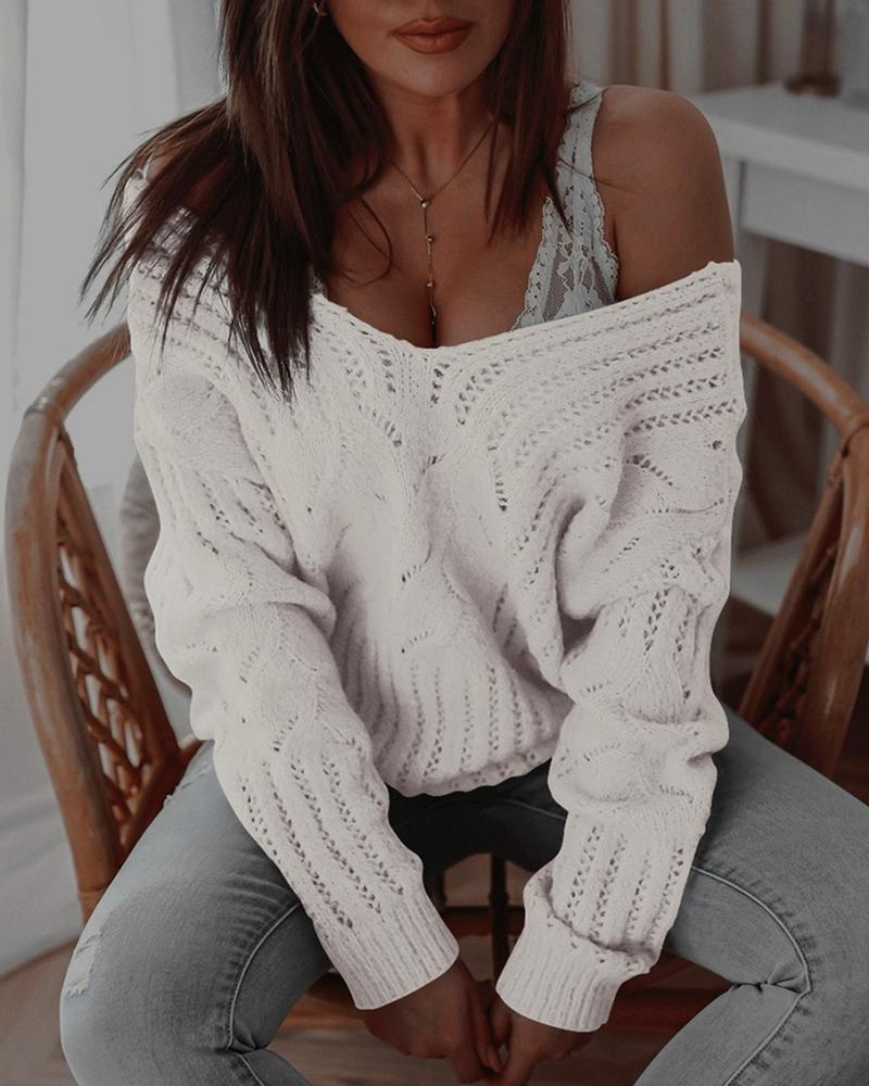 Plain Hollow Out Long Sleeve Knit Sweater