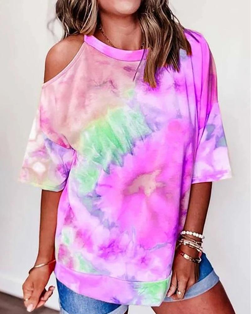 Tie Dye Print Half Sleeve Casual T-shirt
