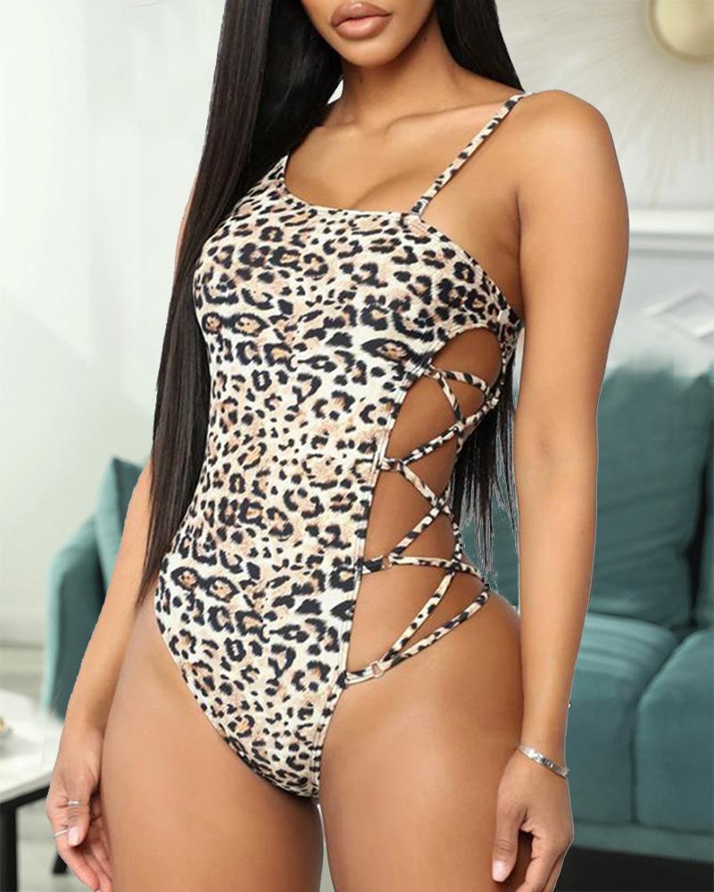 Lace-up Leopard Sling One-Piece Bikini Sets